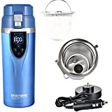 Larcolais 12v/24v Car Heated Cup Auto Electric Kettle Car Heating Water Cup Travel Mug Hot Drink Unfreezing Mug Intelligent Heating Car Electric Mug (Ocean Blue) by Larcolais