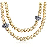 Bling Jewelry Simulated Pearl Rhinestone Bridal Necklace Rhodium Plated 48in