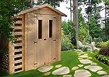 M386C Blockbohlen Gartenhaus aus Holz + Kaminholz-Unterstand- 3,53+0,97 m²