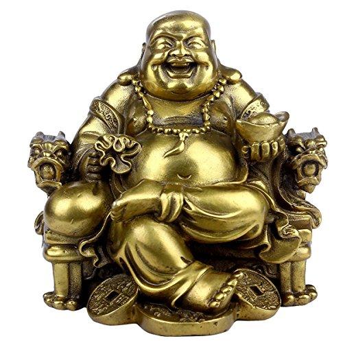 Brass statu Feng Shui Handmade Statue von Buddha Maitreya Lachen auf Stuhl, Kaiser-Deko-Skulptur für Indoor Outdoor Dekoration (Maitreya-statue)