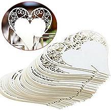 LZHOO 50 pz Segnaposto Segnabicchiere Segnatavolo Bianco Cuore in Carta decorazione per la festa di nozze