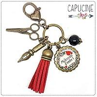 Porte clés - bijou de sac Maîtresse - Bronze et cabochon verre illustré Maîtresse d'Enfer - idée cadeau maîtresse, cadeau fin d'année scolaire