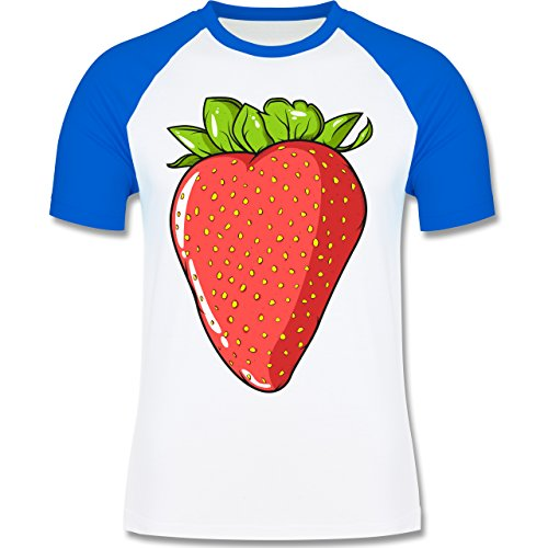 Shirtracer Statement Shirts - Erdbeere - Herren Baseball Shirt Weiß/Royalblau