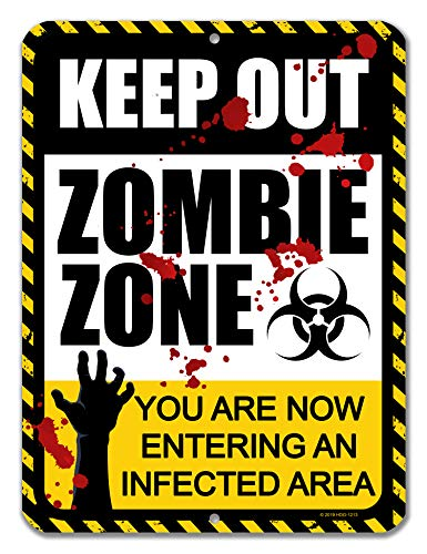 ige Schilder Keep Out Zombie Zone, 22,9 x 30,5 cm, aus Metall und Aluminium ()