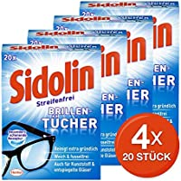 Sidolin feuchte Reinigungstücher für Brillen, Displays, Bildschirme (4 x 20 Stück)