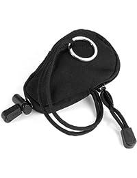 ULTNICE Portátil de viaje monedas monedero cambio cartera bolsa llave con llavero incorporado (negro)