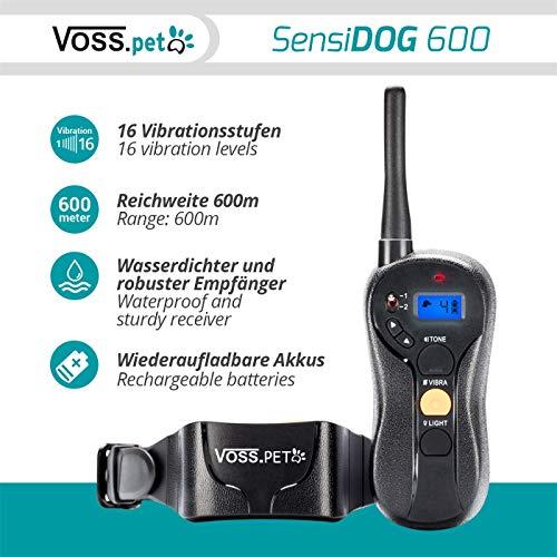 """VOSS.PET \""""SensiDOG 600\"""" Hunde-Ferntrainer, Erziehungshalsband, Vibrationstrainer 16 Vibrationsstufen und Tonsignal, Fernbedienung, 600m Reichweite, Aufladbarer Akku"""