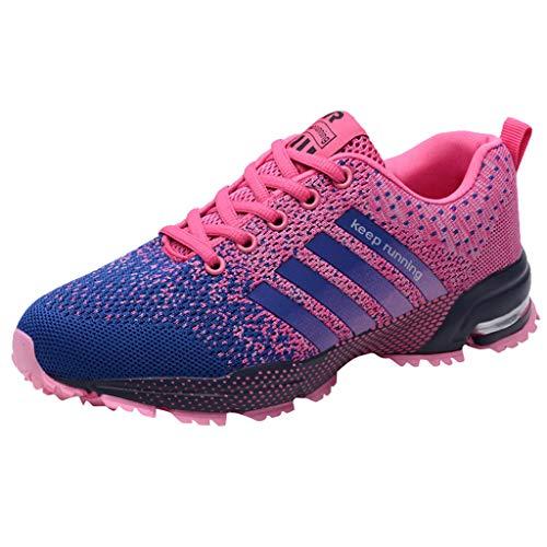FeiBeauty Unisex Laufschuhe Mesh Atmungsaktiv Sneakers Bequem Ultra-Light Laufschuhe Straßenlaufschuhe Herren Damen Casual Sportschuhe Schwarz Pink Rose Weiß Blau Grün Gr.35-48