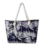 Große Strandtasche wasserabweisend mit Reißverschluss Seegras dunkelblau