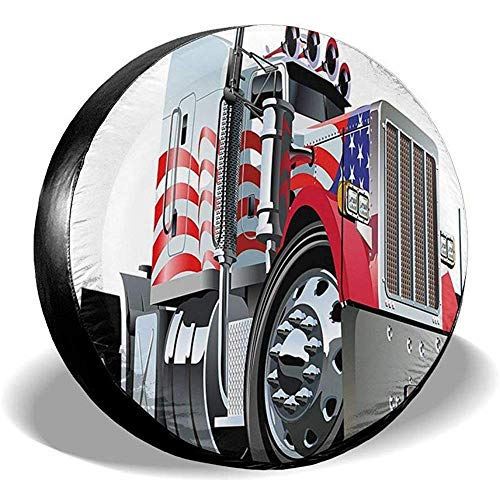 LAURE Tire Cover Copriruota di scorta per Ruota di Protezione Solare Universale a Tema Semi-Polyster con Bandiera Am