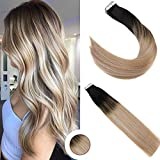 Ugeat 14 Pollici Capelli Lisci Tape in Adesivo Extensions Dissolvenza nera a Golden Brown con Platinum Blonde 100% Remy Extension 50 grammo 20pcs/pacco