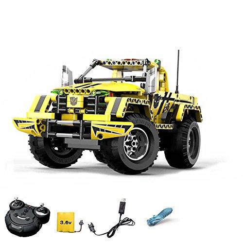 Preisvergleich Produktbild 2.4GHz RC Steckbausatz DIY RC ferngesteuerter 2in1 Truck Jeep aus Bausteinen zum Selber Bauen Basteln mit 2.4GHz Fernbedienung, Block Building Brick Fahrzeug, Auto, Car, Komplett-Set Inkl. Akku und Ladegerät