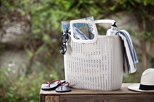 """Curver Knit"""" Einkaufstasche aus Kunststoff (PP), mit 2 Henkel, Inhalt ca. 15 l weiss"""