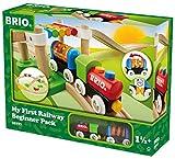 BRIO World 33727 Mein erstes BRIO Bahn Spiel Set - Zug mit Waggon, Schienen & Hängebrücke für...