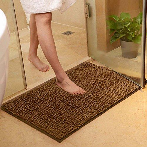 Rutschfeste Badematte Badteppich aus Mikrofaser Chenille Teppich für Badezimmer size 50x80 cm (Braun)