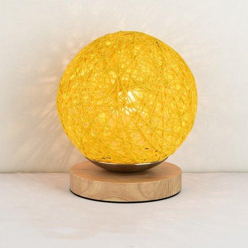 ZYY * Lampe de table en rotin moderne et colorée avec une petite lampe de table. Lampe de bureau sphérique en rotin. Lampe de lecture à poser avec base en bois et douille E27 (couleur: jaune).