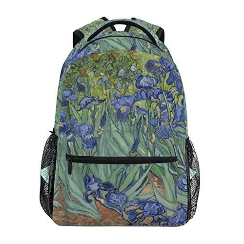 BIGJOKE Rucksack Aquarell Van Gogh Iris Blumen große Kapazität Casual Bedruckte Schultasche Daypack Reise Laptop Frauen Erwachsene Jungen Mädchen