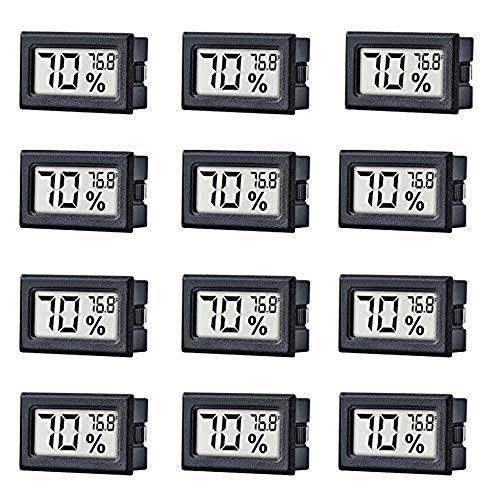 PQZATX 12 Pack Kleine Digitale Elektronische Temperatur und Feuchtigkeits Messger?te Messger?t Innen Thermometer Hygrometer Lcd Display Fahrenheit (℉) für Humidore,Garten, Keller