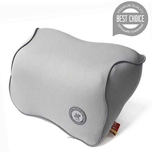 FMS Auto Nackenkissen Kopfkissen, Memory-Schaum Autokissen und zervikales Kissen mit entfernbarer Abdeckung für Autositz (Grau)