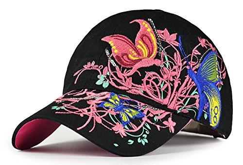 Frauen-Baseball Kappe Mütze-Leichte Kappe mit Schmetterling und Blumen-Stickerei-Sommer-Hut,schwarz