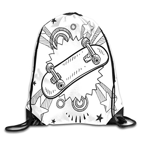 Drawstring Backpacks Bags Daypacks,Sketch of A Skateboard with Sixties and Seventies Style Pop Art Inspired Background,5 Liter Capacity Adjustable for Sport Gym Traveling