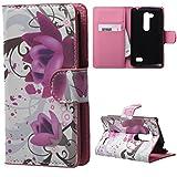 LG Fino Cover,in Pelle Protettiva Flip Cover Portafoglio Guscio Custodia per LG L Fino D290N D295 Case Cover Con carte di credito slot,Fiori viola