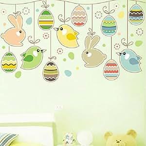 wand dekor osterdeko eier hasen kaninchen blumen wall safe abnehmbare aufkleber wallpaper. Black Bedroom Furniture Sets. Home Design Ideas