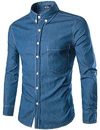 Allegra K Hommes Manches Longues Boutonné Chemise En Jeans