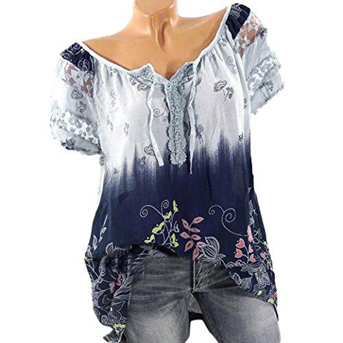 OverDose Damen Blumen Spitze Tops Frauen Kurzarm V-Ausschnitt Spitze Gedruckte Lose T-Shirt Bluse Oberteile Tees Shirt(Light Blue,4XL)