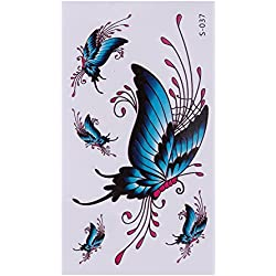 Rrimin 10pcs 3D Butterfly Flower Temporary Tattoo Stickers Waterproof Body Art (S037)