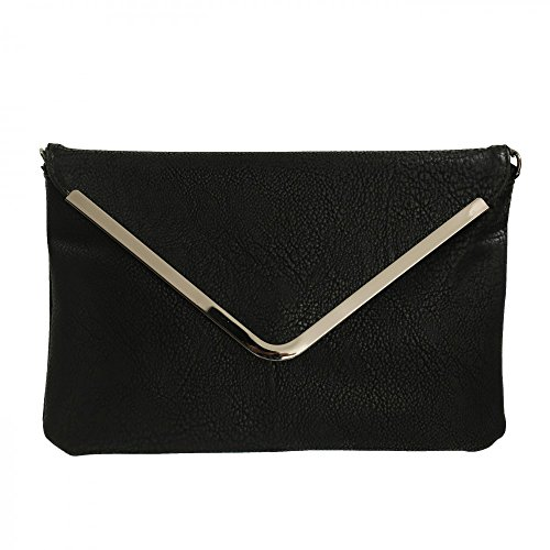 Shopping-et-Mode - Petite pochette de soirée noire enveloppe avec détails argentés - Noir, Simili-cuir