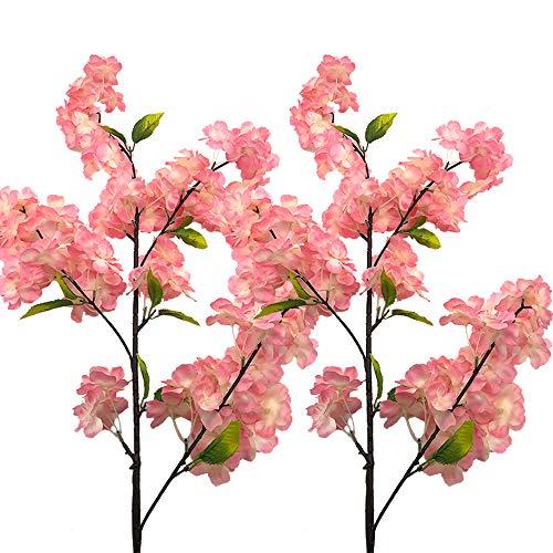 Aisamco 4 pezzi rametti artificiali di fiori di ciliegio decorativi fiore artificiale di seta pianta per matrimoni casa festa decorazione