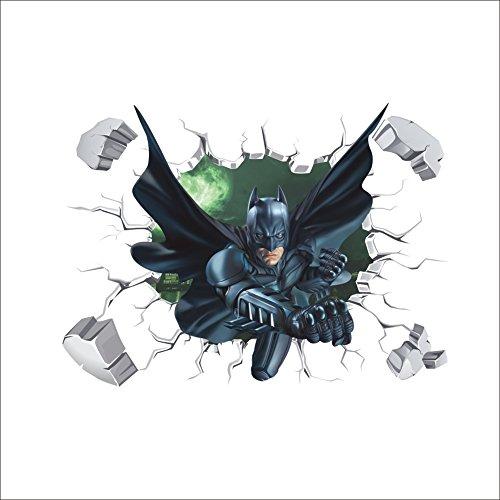 Oulique ® 3D Aufkleber Batman im Wanddurchbruch Loch