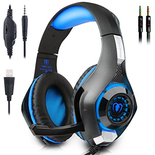 Gaming Headset, Beexcellent GM-1 Over-Ear Stereo Kopfhörer Audio Musick Ohrhörer mit Mikrofon und LED-Licht für PS4 PC Computer Laptop Handy Tablet iPhone iPad - Blau