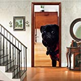 Holztüren Renovieren Tür Abziehbilder Nette Hundetür Aufkleber Selbstklebende Dekorative Wasserdichte Wandtattoo Mural Tapete 2 Blatt/Set