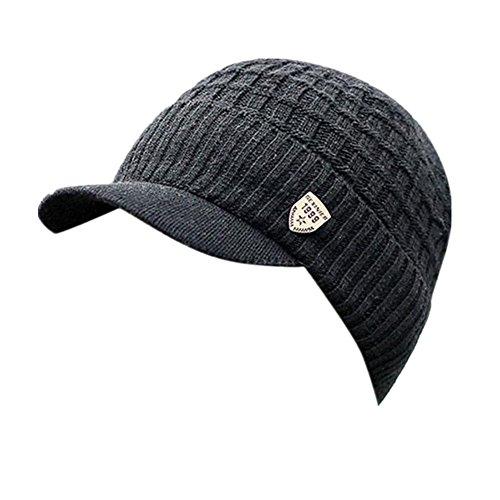 Invierno Hombre Gorro de Punto Tejer de lana Beanie Sombrero de gorras con. 50db8d4fb62