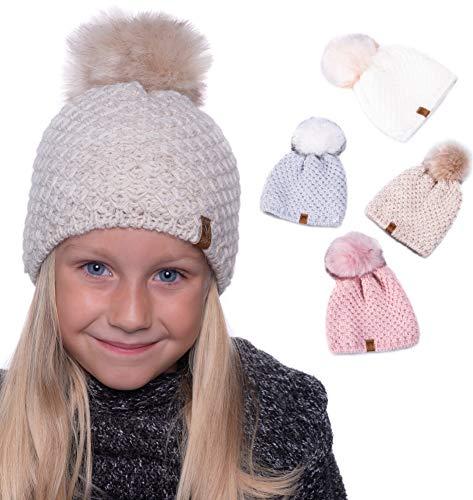 HEYO gestrickte Wintermütze für Mädchen | Bommelmütze Gefüttert | H17201 | Slouch Beanie Fleece Stirnband Warme Strickmütze mit Kunstfell Bommel (Beige)
