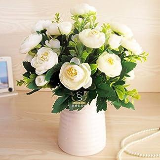 XCZHJ Flores Decorativas Artificiales Jarrón Cerámica Artificial Camelia Estilo Rural Blanco A Los Productos de Flores Incluyen:Flores Artificiales,Flores Artificiales Blancas.