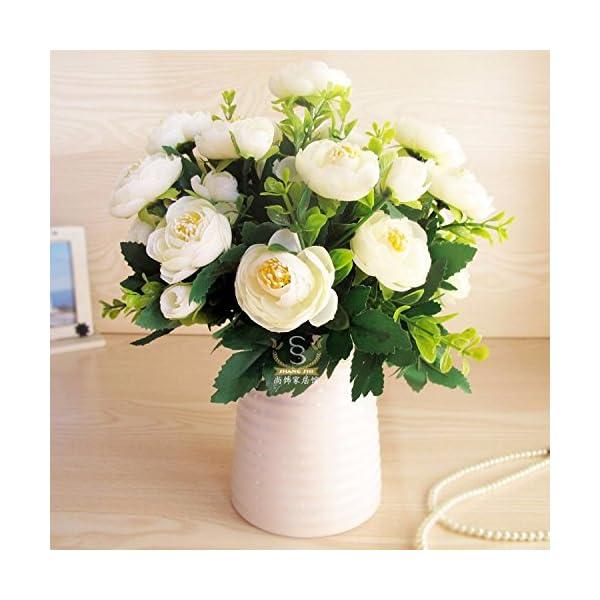 XCZHJ Flores Decorativas Artificiales Jarrón Cerámica Artificial Camelia Estilo Rural Blanco A Los Productos de Flores…