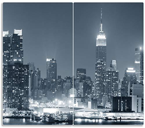 Wallario Herdabdeckplatte/Spritzschutz aus Glas, 2-teilig, 60x52cm, für Ceran- und Induktionsherde, New York Skyline - Schwarz Weiß Blau