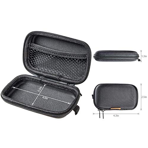 GLCON Black Rectangle Shaped Portable Protection Hard EVA Case, Mesh Inner Pocket, Zipper Enclosure and Durable Exterior, a Handsfree Lightweight Universal Carrying Bag for Wired or Bluetooth Headset Earphone Earbud, USB Char