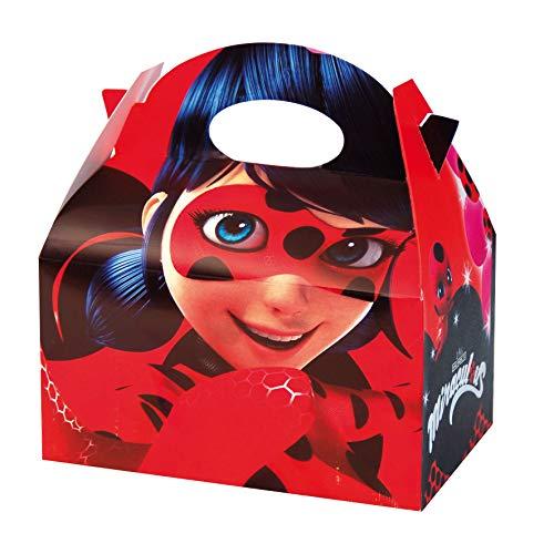 ALMACENESADAN 0650, Pack 4 cajitas de Carton para chuches Lady Bug, para Fiestas y cumpleaños