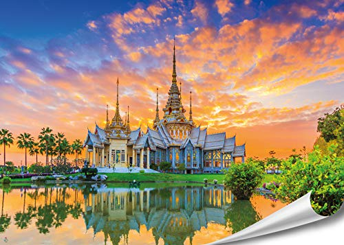 PMP 4life. XXL Poster Sorapong Tempel in Thailand | 140x100cm | hochauflösendes XXL Wand-Bild, Natur Poster extra groß, XL Fotoposter | Wand-deko Bild Landschaft Asien Buddha Thai-Tempel