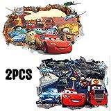 Kibi 2PCS Stickers Muraux Cars 3 Disney Wall Decal Enfants Chambre Bébé Décoration Autocollants Muraux Cars Disney stickers Muraux Personnalisé Stickers Mural Amovible