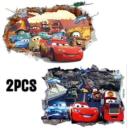 Kibi 2pcs 3d adesivo da parete cars di arte auto del fumetto pvc parete rotto adesivi muro cars disney camera dei bambini soggiorno camera da letto decorazione casa stickers murali cars rimovibili