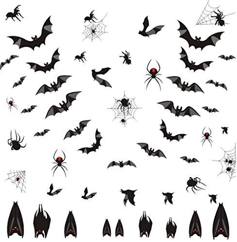 Arttop Wandaufkleber mit Fledermäusen, Halloween, Spinnennetz, Spinnennetz, Gruselige Fledermäuse Aufkleber für Halloween-Party, 58 Stück