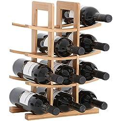 Gräfenstayn® 30551 casier à vin PORTO - empilable en bois de bambou pour 12 bouteilles de vin - Taille 30x16x42 cm (LxPxH) Porte-bouteille de vin casier à bouteilles