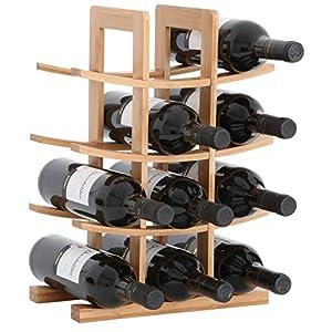 Gräfenstayn® Weinregal PORTO – aus Bambus-Holz für 12 Wein-Flaschen – Größe 30x16x42 cm (LxBxH) Weinflaschenhalter Weinkiste Flaschenregal
