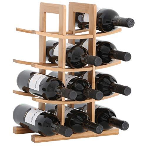 egal PORTO - aus Bambus-Holz für 12 Wein-Flaschen - Größe 30x16x42 cm (LxBxH) Weinflaschenhalter Weinkiste Flaschenregal ()