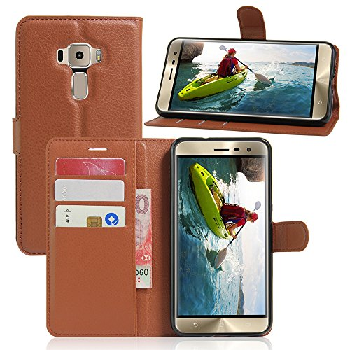 casefirst ASUS ZenFone 3 Zoom ZE553KL Case Luxury PU Leather Wallet Flip Protective Folio Case Cover with Card Slots and Stand for ASUS ZenFone 3 Zoom ZE553KL Brown Zoom-3 Holster